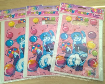 Vintage Lisa Frank Party Loot Bags (3 packs) 24 bags Kitten Love Balloon Party Bags