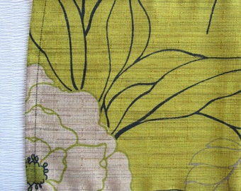 """Botanical Lime Green Table Runner- 9x38"""" Skinny Table Runner, Dresser Scarf, Perfect for Cozy Dining Spaces"""