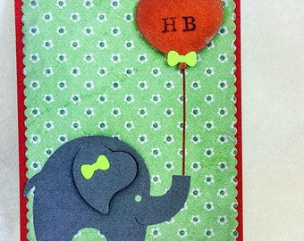 Handmade cards: Elephant birthday card - Cute birthday - Wcards