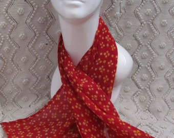 "Scarf Red Orange Soft Poly Scarf 15"" x 40"" Long - Affordable Scarves!!!"