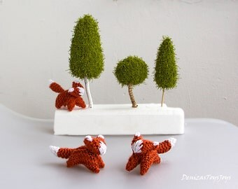 Waldorf knitted foxes and trees PDF knitting patterns. SALE. Waldorf animal pattern Waldorf toy for children. Baby shower gift Nursery decor