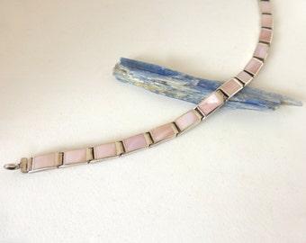 Vintage 1970's Sterling Silver and Mother of Pearl Rectangular Link Bracelet