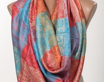 Blue Orange Red Pashmina Oversize scarf.  Long Scarf or Shawl or Neck Wrap. Christmas gift Scarf.