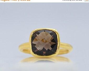 PRESIDENTS DAY SALE Smoky Quartz Ring - Gemstone Ring - Stacking Ring - Gold Ring - Cushion Cut Ring - bezel set ring - smoky quartz jewelry