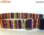 "Sale 30% Off Halloween Dog Collar - Halloween Stripe Collar - ""Batty""- NO EXTRA Charge for colored buckles"