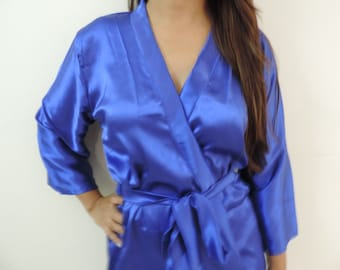 Code: H-9 Satin Solid Color Kimono Crossover patterned Robe Wrap - Bridesmaids gift, getting ready robes, Bridal shower favors, baby shower