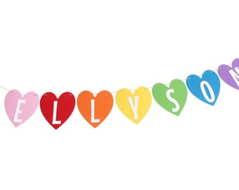Rainbow Heart Banner - Heart Birthday Banner - Rainbow Birthday Banner - Rainbow Unicorn Birthday Banner - Rainbow Hearts - Rainbow Name