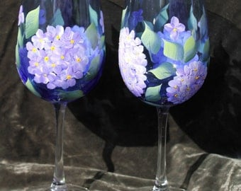 Hand Painted Wine Glasses (Set of 2) - Lavender Hydrangea on Cobalt Blue Glass