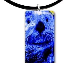 navy blue, Sea Otter pendant, hand painted unique artwork, Adorable Otter, Glass tile penant, bright dark blue