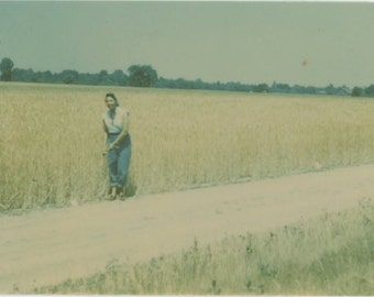 Color Ansco Print, 1940s: Woman on Dirt Road at Edge of Field Vintage Snapshot Photo [71480]