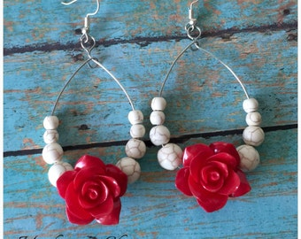 Rose White Turquiose Stone Southwestern Gypsy Chic Earrings