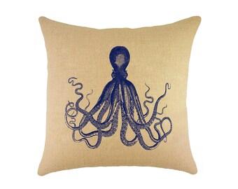 """Navy Octopus Burlap Pillow 16"""", Coastal Throw Pillow"""