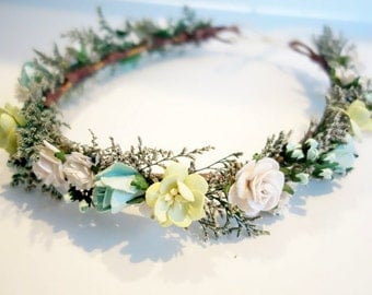 Flower Crown, Mint Wedding, Boho Headdress, Beach Wedding, Bridal Flower Crown, Floral Head Wreath, Mint Flower Crown, Boho Wedding