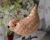 Primitive Folkart Sewing Bird / Strawberry  Sampler   Beaconhillcollect  We Ship Internationally