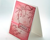 Pink Cherry Blossoms Thank you card, french script, Thanks so much blank card