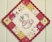 sweet squirrel embroidered pot holder