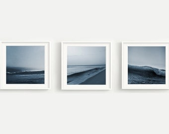 Blue Waves Print Set of 3 - Crest - Beach - Horizon - Ocean - Surf - Calm