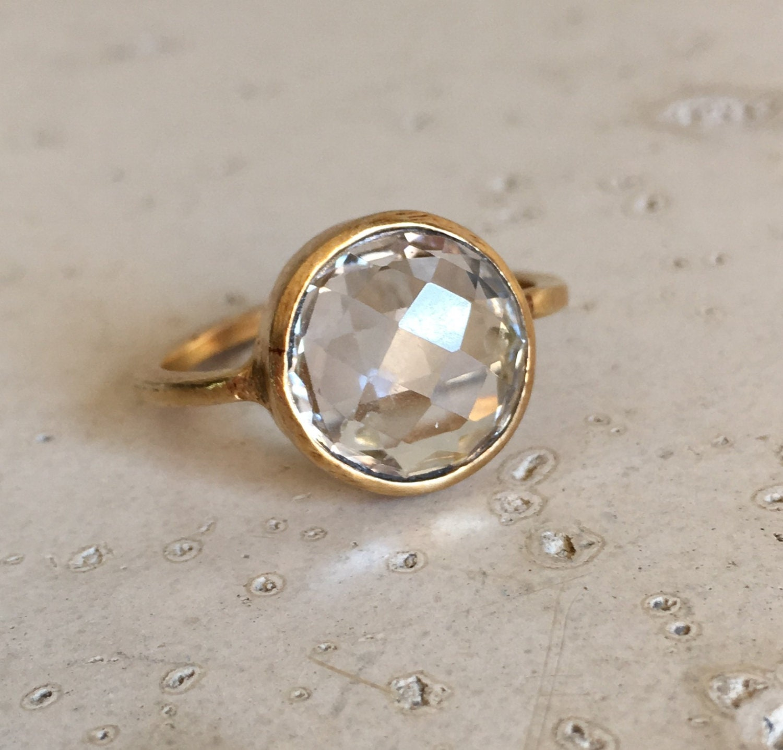 White Topaz Ring White Stone Ring Gemstone Ring Gold Ring