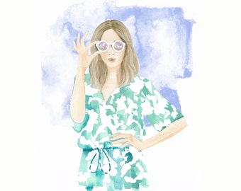 Tropical Fever, print from original watercolor and mixed media fashion illustration by Dena Cooper