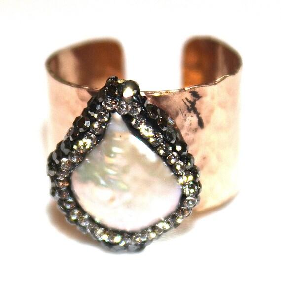 Pave Pearl Ring Cigar Band Ring Gold Cigar Ring Adjustable