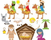 INSTANT DOWNLOAD. CCNAT_4_Nativity. Nativity clip art. Personal and commercial