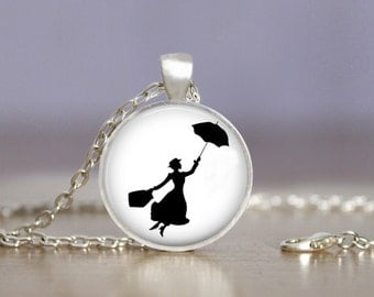Mary Poppins 2 Necklace or Keychain Jewelry 25mm - Choose Finish & Length - Black Bronze Copper Gold Gunmetal Silver - Mary Poppins Jewelry