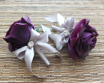 Men's Boutonniere, Purple Rose and Silver Grey Ribbon Boutonniere with rhinestone accent