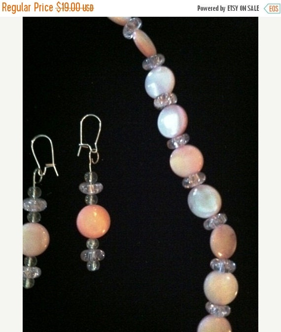 20% SALE Moonstone MOP Necklace Earrings Set Soft & Sweet Pink White Mother of Pearl