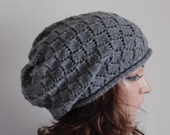Grey lace hat, knitted handmade hat for women, women's lace beret, slouchy hat, knit beret, slouch lace beanie, knit baggy beanie