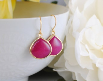 The Sharon Earrings - Raspberry