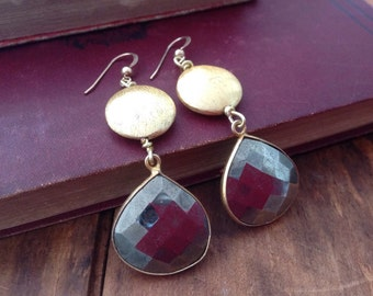 Pyrite earrings, gold and pyrite earrings, holiday gift