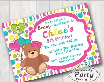 Build Bear Birthday Party Invitation Invite Printable  Personalized Girl Colorful Polka dot Balloons Customized 5x7 or 4x6