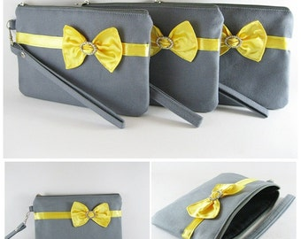 SUPER SALE - Set of 5 Gray with Little Yellow Satin Bow Clutch - Rhinestone Bridal Clutch, Bridesmaid Wristlet, Wedding Gift - Made To Order