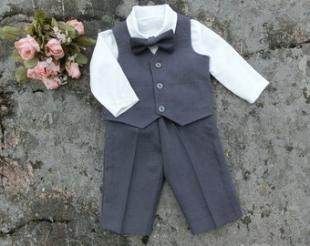 Baby charcoal suit. Ring bearer outfit. baby boy gray set. Pageboy outfit. Gray baby suit. Baby vest outfit. First birthday outfit.