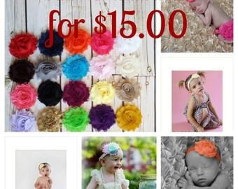 XMAS SALE!, Set of 10 Baby Girl Headbands, Fall-Sumer Colors,Shabby Flower Headbands,Newborn Headbands,Baby Headbands,Photography Headband