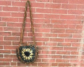 70s braided leather link boho crossbody bag