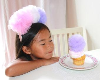 Pink Purple Tulle Pom Pom Princess Fairy Headband Crown Halo