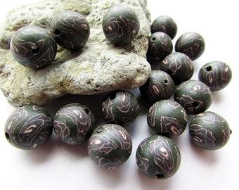 Polymer Clay Beads Dark Purple Gray Fimo Beads 12 mm Round Polymer Clay Beads Round Fimo Beads Craft Supply (10)
