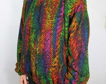 90s Rainbow Red Snake Skin Plush Print Fabric Vintage Custom Jacket