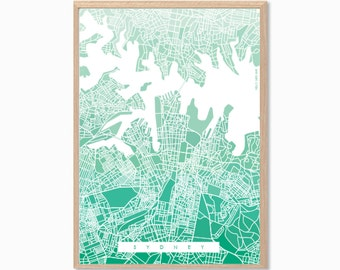 AUSTRALIA | Sydney City Map Poster : Modern Illustration Retro Art Wall Decor Print