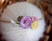 newborn headband, newborn tieback, purple flower headband, pink flower headband,  baby girl tieback photography prop,newborn photo prop,