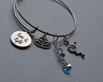 Biolojewelry - Love and Light Dopamine Molecule Neurotransmitter Lotus Bangle Bracelet