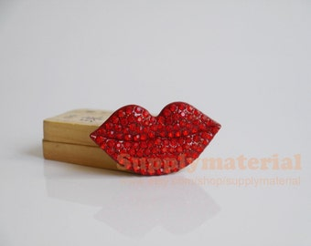 1pcs Bling Crystal Big Red Lips Flatback Alloy jewelry Accessories for DIY phone case deco