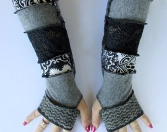 Womens Long Fingerless Gloves - Festival Arm Warmers - Black Lace Gloves - Hippie Gloves - Long Arm Warmers - Funky Fingerless Gloves -