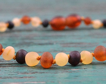 Raw Baltic Amber Teething Necklace for Baby - Maximum pain relief - Safety knotted - Best amber quality from Lithuania - !!!SPECIAL PRICE!!!