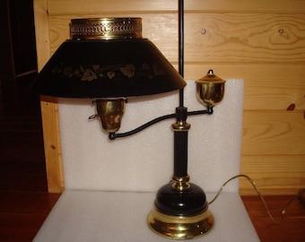 Vintage Black Metal And Brass Large Desk Top Lamp