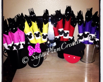 20 Minnie Mouse or Mickey Mouse utensils and napkin sets - minnie or mickey mouse theme party decorations silverware sets