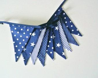 Sale: fabric bunting in navy blue, guirlande de fanions