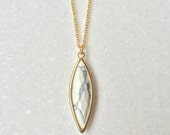 White Turquoise Matt gold necklace