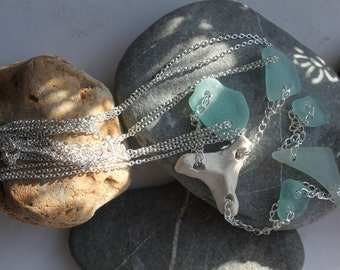 aqua sea glass necklace beach glass pottery jewelry seaglass beads ornaments jewelleryFREE shipping WORLDWIDE